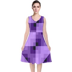 Purple Geometric Cotton Fabric V Neck Midi Sleeveless Dress