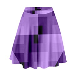 Purple Geometric Cotton Fabric High Waist Skirt