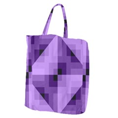 Purple Geometric Cotton Fabric Giant Grocery Zipper Tote