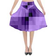 Purple Geometric Cotton Fabric Flared Midi Skirt