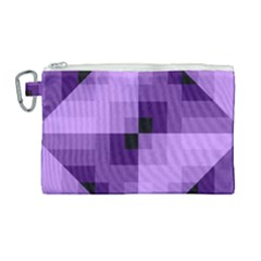 Purple Geometric Cotton Fabric Canvas Cosmetic Bag (large) by Nexatart