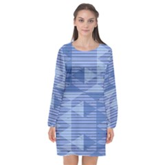 Texture Wood Slats Geometric Aztec Long Sleeve Chiffon Shift Dress