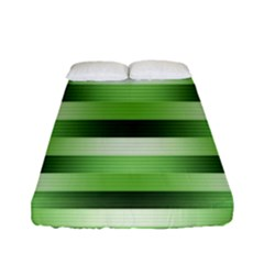 Pinstripes Green Shapes Shades Fitted Sheet (full/ Double Size) by Nexatart