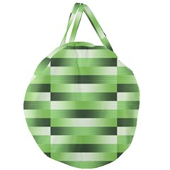 Pinstripes Green Shapes Shades Giant Round Zipper Tote