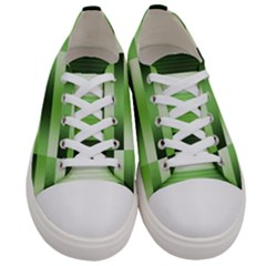 Pinstripes Green Shapes Shades Women s Low Top Canvas Sneakers