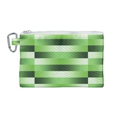 Pinstripes Green Shapes Shades Canvas Cosmetic Bag (medium) by Nexatart