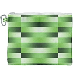 Pinstripes Green Shapes Shades Canvas Cosmetic Bag (xxxl) by Nexatart