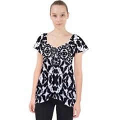 Black And White Geometric Pattern Lace Front Dolly Top by dflcprints