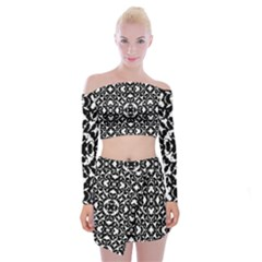 Black And White Geometric Pattern Off Shoulder Top With Mini Skirt Set by dflcprints