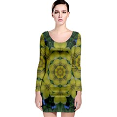 Fantasy Plumeria Decorative Real And Mandala Long Sleeve Bodycon Dress