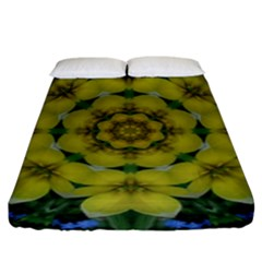 Fantasy Plumeria Decorative Real And Mandala Fitted Sheet (king Size) by pepitasart
