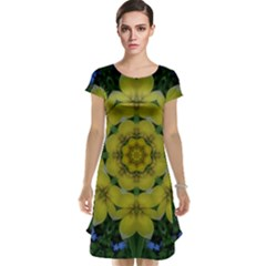 Fantasy Plumeria Decorative Real And Mandala Cap Sleeve Nightdress by pepitasart