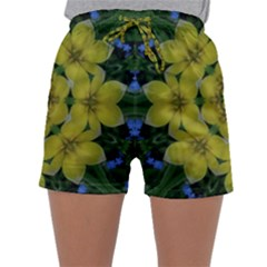 Fantasy Plumeria Decorative Real And Mandala Sleepwear Shorts by pepitasart