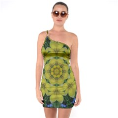 Fantasy Plumeria Decorative Real And Mandala One Soulder Bodycon Dress
