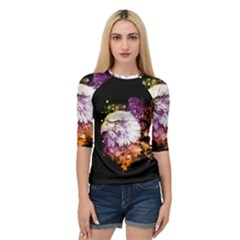 Awesome Eagle With Flowers Quarter Sleeve Raglan Tee by FantasyWorld7