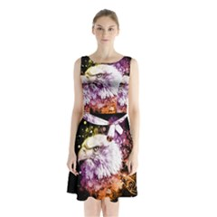 Awesome Eagle With Flowers Sleeveless Waist Tie Chiffon Dress by FantasyWorld7
