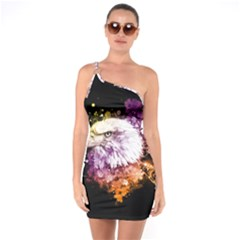 Awesome Eagle With Flowers One Soulder Bodycon Dress