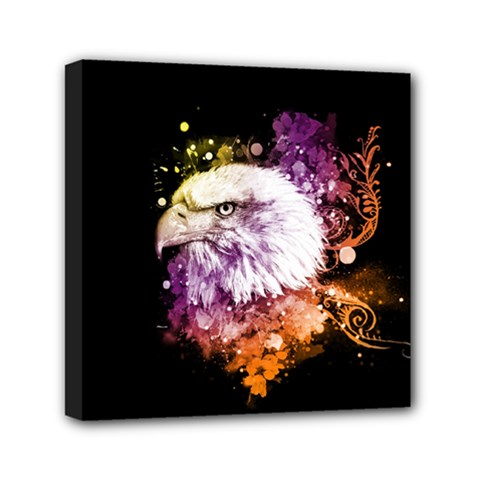Awesome Eagle With Flowers Mini Canvas 6  X 6  by FantasyWorld7