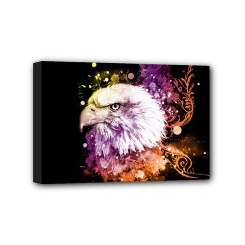 Awesome Eagle With Flowers Mini Canvas 6  X 4  by FantasyWorld7