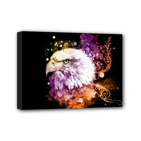 Awesome Eagle With Flowers Mini Canvas 7  X 5  by FantasyWorld7