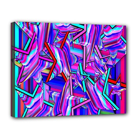 Stars Beveled 3d Abstract Stripes Canvas 14  X 11