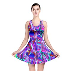 Stars Beveled 3d Abstract Stripes Reversible Skater Dress