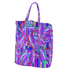 Stars Beveled 3d Abstract Stripes Giant Grocery Zipper Tote
