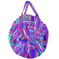 Stars Beveled 3d Abstract Stripes Giant Round Zipper Tote