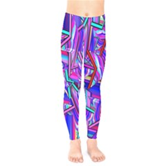 Stars Beveled 3d Abstract Stripes Kids  Legging by Nexatart