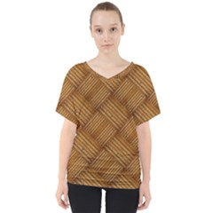 Wood Texture Background Oak V Neck Dolman Drape Top