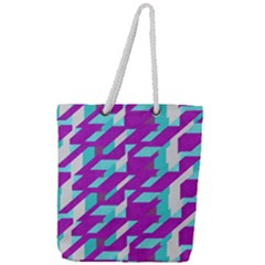 Fabric Textile Texture Purple Aqua Full Print Rope Handle Tote (large) by Nexatart
