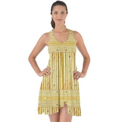 Wood Texture Grain Light Oak Show Some Back Chiffon Dress