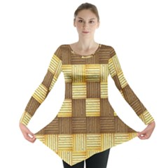 Wood Texture Grain Weave Dark Long Sleeve Tunic