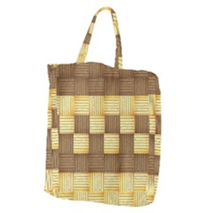 Wood Texture Grain Weave Dark Giant Grocery Zipper Tote