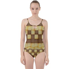 Wood Texture Grain Weave Dark Cut Out Top Tankini Set