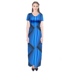 Abstract Waves Motion Psychedelic Short Sleeve Maxi Dress