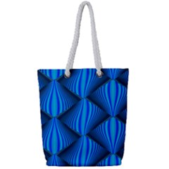 Abstract Waves Motion Psychedelic Full Print Rope Handle Tote (small)