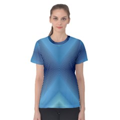 Converging Lines Blue Shades Glow Women s Cotton Tee