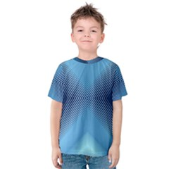 Converging Lines Blue Shades Glow Kids  Cotton Tee by Nexatart