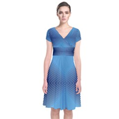 Converging Lines Blue Shades Glow Short Sleeve Front Wrap Dress