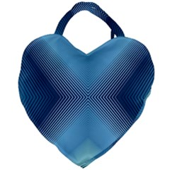 Converging Lines Blue Shades Glow Giant Heart Shaped Tote by Nexatart