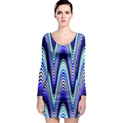 Waves Wavy Blue Pale Cobalt Navy Long Sleeve Bodycon Dress