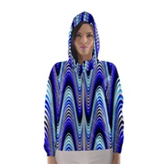 Waves Wavy Blue Pale Cobalt Navy Hooded Wind Breaker (women)