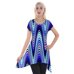 Waves Wavy Blue Pale Cobalt Navy Short Sleeve Side Drop Tunic