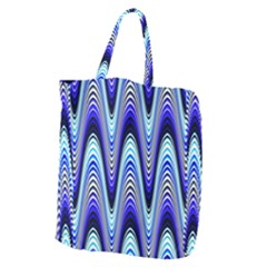 Waves Wavy Blue Pale Cobalt Navy Giant Grocery Zipper Tote