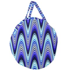 Waves Wavy Blue Pale Cobalt Navy Giant Round Zipper Tote
