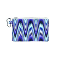 Waves Wavy Blue Pale Cobalt Navy Canvas Cosmetic Bag (small) by Nexatart