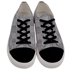 Texture Wood Grain Grey Gray Men s Low Top Canvas Sneakers