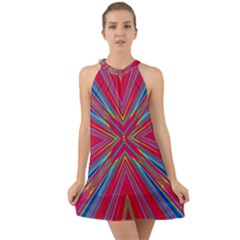 Burst Radiate Glow Vivid Colorful Halter Tie Back Chiffon Dress