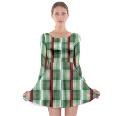 Fabric Textile Texture Green White Long Sleeve Skater Dress